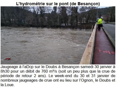 jaugeage du Doubs en crue à Besançon - janvier 2021