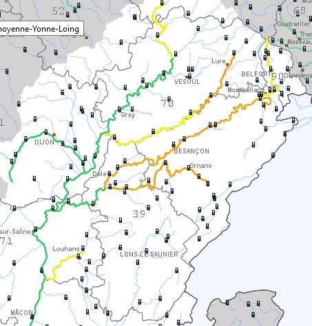 carte de vigilance crues du 28 janvier 16h du bassin Rhône amont - Saône